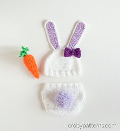 Little Bunny Hat, Diaper Cover And Carrot By Doroteja - Free Crochet Patterns - Links Are On This Page To All Three Patterns - (crobypatterns)