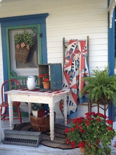 Love this country porch in red white and blue. ForeverMore Country Antiques Photos from open house events at our shop in Georgetown, IL