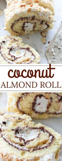 Easy sponge (biskvit) Coconut Almond Cake Roll Recipe. Easy coconut cake roll with a chocolate layer, toasted almonds and coconut flakes. #cakeroll #almondcake #coconutcake #roulade #chocolateroll