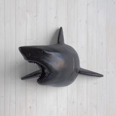 Faux Black Shark Head by Wall Charmers™ - Fake Ceramic Animal Decorative Resin Mounted Replica Taxidermy Plastic Fauxidermy Swimming Mount