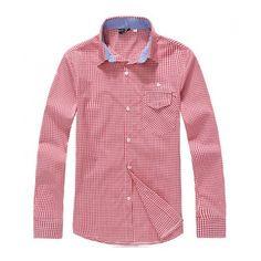 Korea Fashion Lattice Long Sleeve Casual Slim Cotton As Picture Men... ($19) via Polyvore