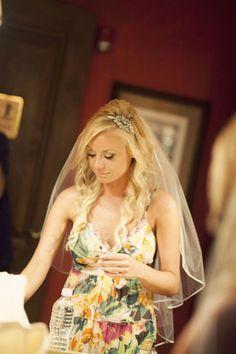 long wedding hair with veil and headband