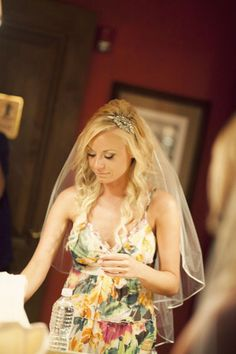 long wedding hair with veil and headband
