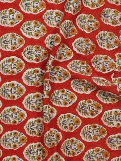 Red Yellow Green Ivory Hand Block Printed Cotton Fabric Per Meter - F001F774