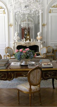 Beautiful french office with golds + silvers + warm woods. 19th century chateau set in the Dordogne area of France.