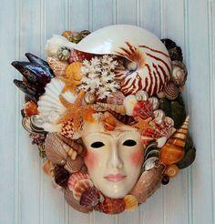 Seashell Mask Wall Hanging Porcelain Mask by GoneCoastalDesigns Seashell Art, Seashell Crafts, Beach Crafts, Shell Flowers, Shell Decorations, Art Deco Pattern, Human Art, Sea Shells, 3 D