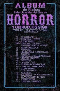 Fichas del cine de horror.