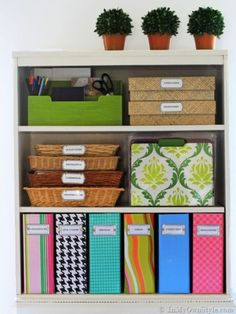 The Container Store: Knock-Off Magazine Files. How to cover cardbox magazine files and label them. Home Office Organization, Organizing Your Home, Organization Hacks, Organizing Ideas, Organized Office, Bookshelf Organization, Organizing Solutions, Office Playroom, Office Storage