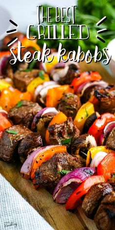 Grilled steak kabobs are a delicious way to add lots of fresh veggies to a steak dinner this summer. Combine juicy beef with tender vegetables for an easy all in one dinner. Includes the best marinade for steak kabobs! Best Grilled Steak, Steak Marinade Best, Steak Kabobs, Kebabs, Backyard Cookout, Cooking On The Grill, Outdoor Cooking, Grilling Recipes, The Best