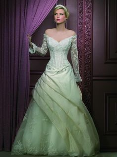 Beautiful Long Wedding Dresses with Green Lace, could you have imagined a green wedding gown looking so lovely! Lacy Wedding Dresses, Plus Size Wedding Dresses With Sleeves, Disney Wedding Dresses, Disney Dresses, Princess Wedding Dresses, Cheap Prom Dresses, Bridal Gowns, Wedding Gowns, Wedding Disney