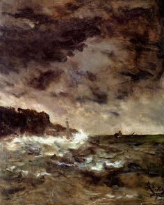 Alfred Stevens (Belgian painter) 1823 - 1906 A Stormy Night, 1892 Alfred Stevens, Dark & Stormy, Stormy Night, Stormy Sea, Manet, Paris, 24. August, Prince, Oil Painting Reproductions