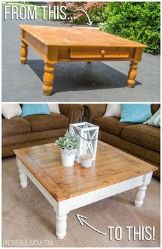 Ugly orange coffee table from Craigslist, made into a beautiful two toned farmhouse style coffee table! This transformation is unbelievable! | farmhouse furniture | coffee table makeover | fusion mineral paint | square coffee table | wood stained coffee table | rustic coffee table makeover tutorial