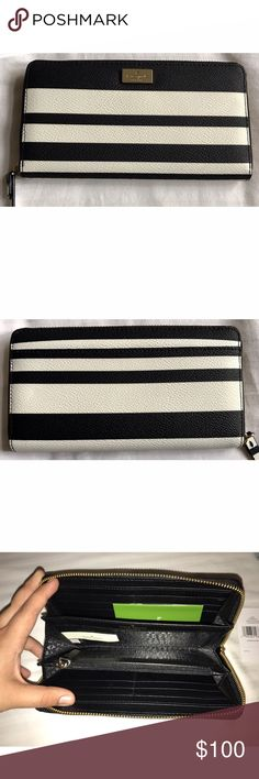 NWT kate spade neda wallet Beautiful new with tags kate spade Neda wallet in black and white stripes. Offers welcome. ❤ kate spade Bags Wallets