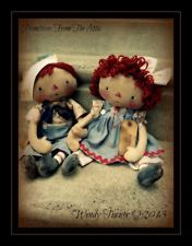 PriMiTiVe OLDE HaNDCraFTED RaGGeDY ANN and ANDY DoLLS ~ SeT ~ One of A Kind  primitives*from*the*attic