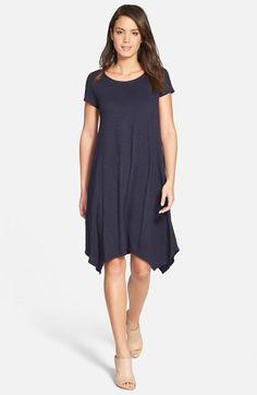 Eileen Fisher Hemp & Organic Cotton Handkerchief Hem Scoop Neck Dress