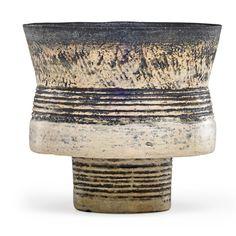 HANS COPER (1920 - 1981)Footed stoneware cup, manganese glaze and porcelain slip, England, 1950sArtist's chopmark
