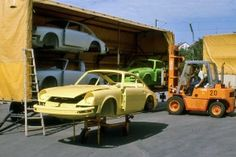 Porsche Factory Visit – September 1974 | Track Thoughts - Cars Returning From Paint Shop. Awaiting Final Assembly