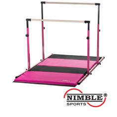 Nimble Sports 3Play and Folding Gymnastics Mat Set - Pink Uneven Bars, Pink/Black Folding Gymnastics Mat