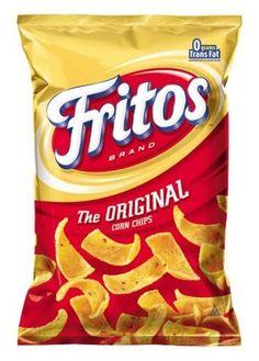 FRITOS® Original Corn Chips contain just three ingredients--corn, corn oil and salt. The short list of ingredients make these easy to find chips WAY better than Doritos. Vegan Junk Food, Vegan Foods, Vegan Vegetarian, Vegan Recipes, Snack Recipes, Camping Recipes, Copycat Recipes, Fritos Corn Chips, Potato Chips