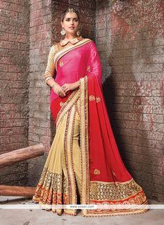 fdc054e698 Distinguishable Hot Pink And Red Faux Crepe Lehenga Saree Model: YOSAR9029  Saree Trends, Ethnic