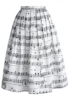 Midi Falda con Estampado de Notas Musicales