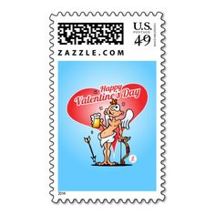 Cupid celebrating Valentine's day with a nice glass of beer. Cupid with a beer postage stamp. #Zazzle #Cardvibes #Tekenaartje #Valentine