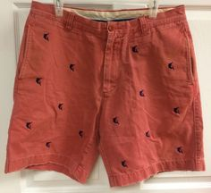 "J Crew Mens Red Pink & Navy Destroyed Broken In Chino Shorts Size 34 8.5""…"