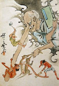 Long noses yokai by Kawanabe Kyosai // Ashinaga-Tenaga + Tengu mix, I suppose