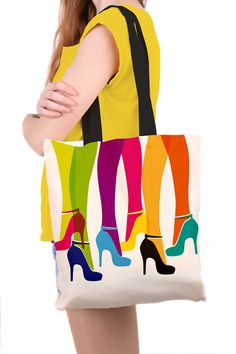 Tote Bag Rainbow High Heels Illustration by SamOsborneStore