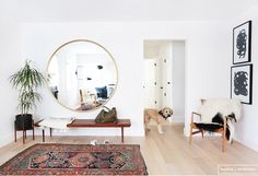 Love the large round mirror