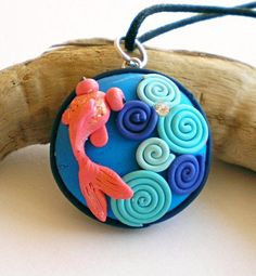 Koi goldfish pendantFREE SHIPPINGOOAK clay by FlowerLandShop, $46.00 handmade polymer clay jewerly