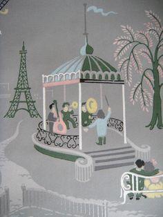 RARE Vintage 1940`s Huge Wallpaper Roll Paris Eiffel Tower