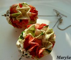 Origami Ball earrings in orange green and white Magic by MarysaArt