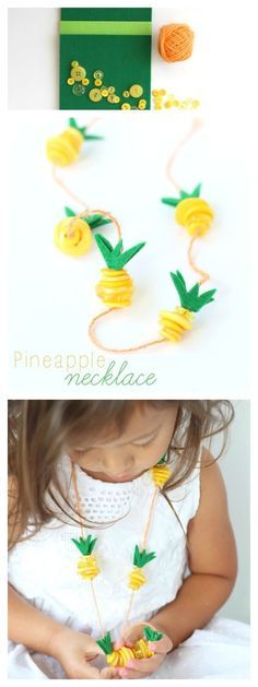 Pineapple Necklace Kids Craft #Moana | Make this easy summer Pineapple craft, inspired by Disney's Moana
