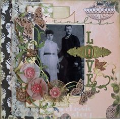 Timeless Love ~ Heritage wedding page with beautiful dimensional flower framing and striking title fonts.