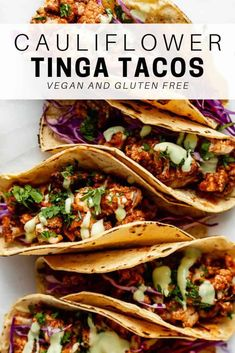 These cauliflower tinga tacos are the best vegan tacos you'll ever try! They're easy to make and loaded with flavor! These cauliflower tinga tacos are the best vegan tacos you'll ever try! They're easy to make and loaded with flavor! Healthy Taco Recipes, Healthy Tacos, Vegan Dinner Recipes, Veggie Recipes, Mexican Food Recipes, Whole Food Recipes, Clean Eating Recipes, Italian Recipes, Vegetarian Tacos
