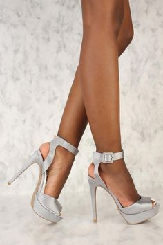Sexy Pewter Satin Peep Toe Platform Pump High Heels  Platformpumps 37d349f22ac1