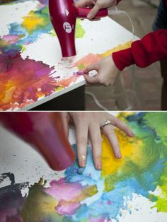 different approach to crayons on canvas ~ way cooler than the original method... looks like a watercolor!.