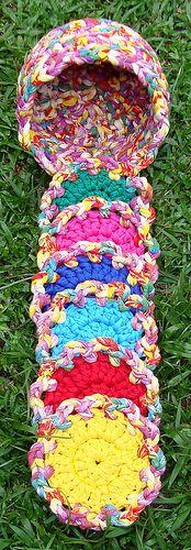 Kit Cestinha+Porta Copos em Trapilho (Rag Crochet)