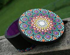Dot Mandala Art Box Wood Painted Yellow Orange Purple Green Gold Collectible Jewelry Ring