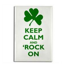 Shamrock Keep Calm and Rock On Rectangle Fridge Magnet #stpaddys #cafepress