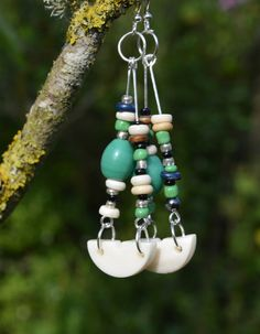 BOHO BEADED EARRINGS festival jewellery by ChrisHearnDesigns