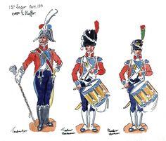 French; 15th Light Infantry, Drum-Major, Carabiner Drummer & Chasseur Drummer, 1804-05