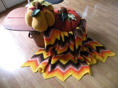 Hand Crochet Blanket throw50x64 yellow orange by Traincasesandmore, $20.00