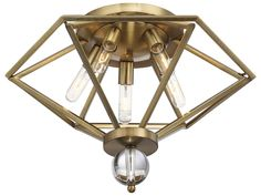 Savoy House Tekoa Warm Brass Five-Light 23'' Wide Flush Mount Ceiling Light with Clear Crystal and Metal Candle Cover   6-682-5-322