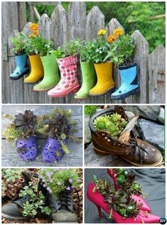 #DIY Heel Boots Shoe #Planter Instructions-20 DIY Upcycled Container #Gardening Planters Projects
