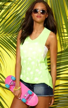 Deb Shops #Palm Tree Print Racerback Tank Top $10.00