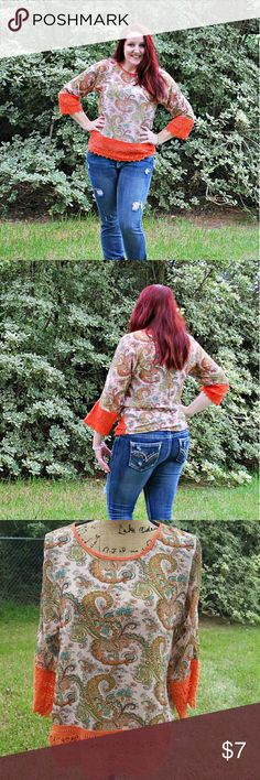 "Umgee Sheer Paisley Orange Blouse Sz Small Umgee brand orange paisley sheer blouse. Crochet lace edges at hemline and sleeves. Beautiful blouse. Excellent condition. Tagged size small. Fits oversized.  Measurements : Length 25"" 19"" across front laying flat  #ravenkittystyle #umgee #orange #paisley #fall #fallfashion #sheer #layer #crochet #crochethem #crochetsleeves #small umgee Tops Blouses"