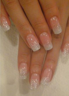 love this french manicure with a glitter twist