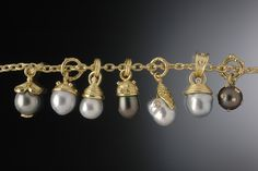 Assorted South Sea and Tahitian Pearl Pendants set in Gold Hughes-Bosca Jew… - Pearl Jewelry 18k Gold Jewelry, Pearl Jewelry, Jewelry Necklaces, Charm Bracelets, Pearl Bracelet, Pearl Earrings, Silver Earrings, Tahitian Black Pearls, Pearl Pendant